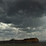 Lightning strikes near a train