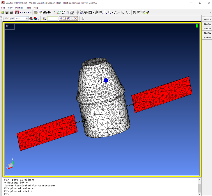 BEM Mesh in EMA CADfix for NASCAP. High quality mesh with no errors and CAD traceability.