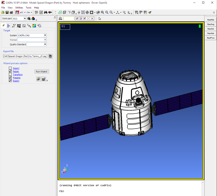 Capsule CAD from Internet fror NASCAP and NASCAP2K spacecraft particle charging simulation