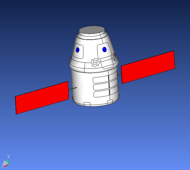 Simplified, repaired and de-featured using EMA CADfix. Features are not included in NASCAP and NASCAP2K for spacecraft particle charging simulation