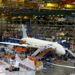 An aircraft on an assembly line